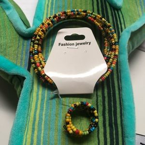 Colorful bead bracelet and ring
